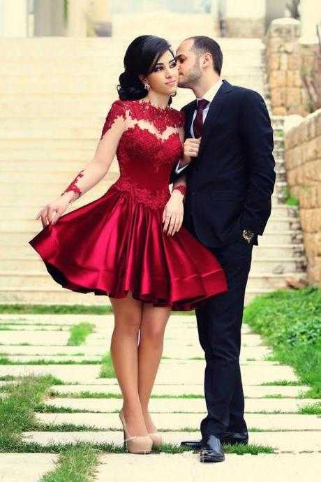 Pretty Red Short Prom Dresses,Lace Homecoming Dresses,Simple Cocktail Dresses For Teens DR0059
