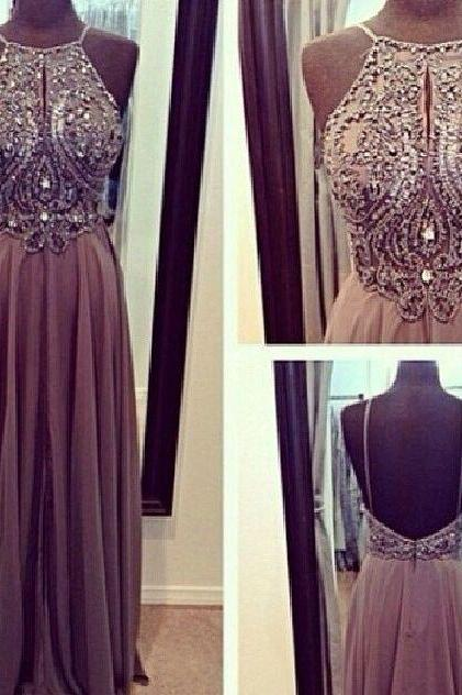 Custom Made A line Grey/Gray Backless Chiffon Prom Dresses, Backless Bridesmaid Dresses, Wedding Party Dresses, Backless Evening Dresses,Dress for Prom,Party Dresses,Prom