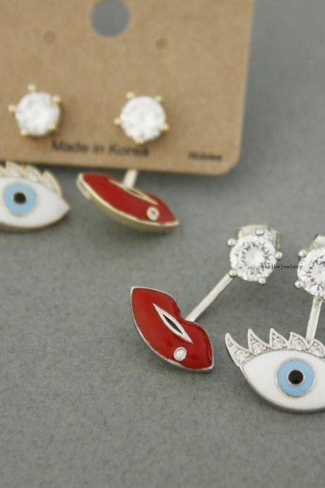 Evil Eye and Red Lip Ear Jackets detailed with CZ setting Gold / Silver, E0472S