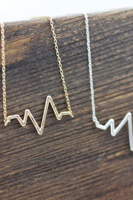 Heart beat necklace, ZigZag Wave Pattern Necklace- geometric zigzag jewelry, N0047G