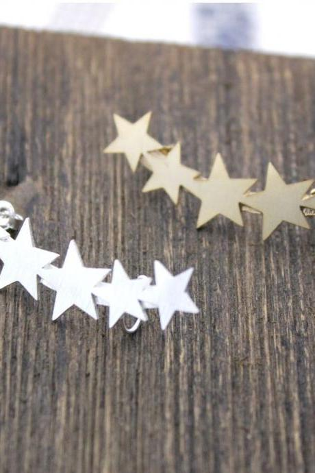 Stars ear cuff post earring in Gold / Silver LEFT SIDE-1pcs, E0110G