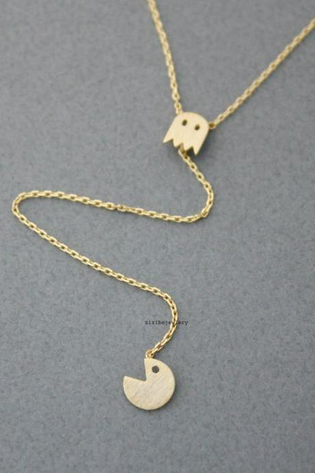 Vintage Game character necklace ,Lariat Necklace, Y necklace in 3 colors, N0468K