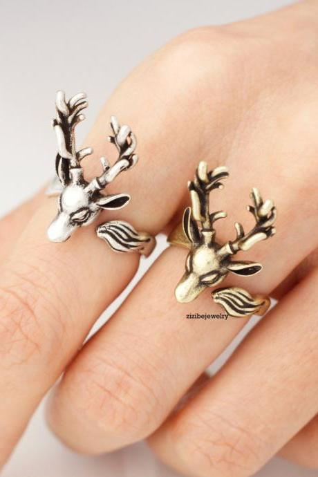 Antler ring, Deer ring, stag ring, horn ring, reindeer ring in 2 colors, R0325S