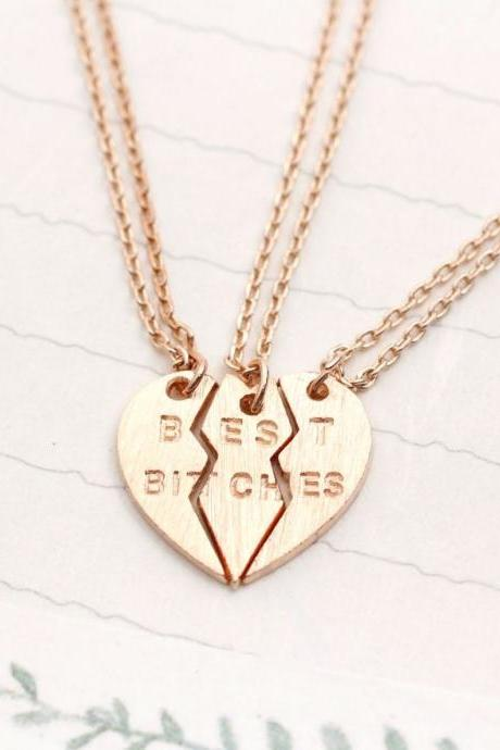 BEST BITCHES Heart Necklace set of 3.(3 colors -gold / silver / rose gold)