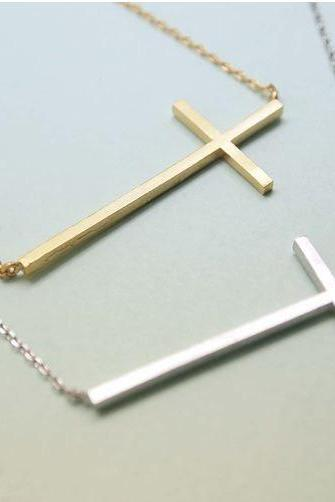 Big Sideways Cross charm pendant necklace in matte Gold / Silver