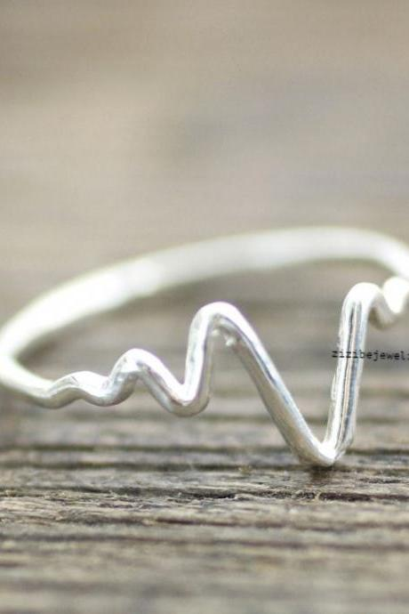 925 sterling silver Heart beat ring, ZigZag Wave Pattern Ring- geometric zigzag jewelry, R0147