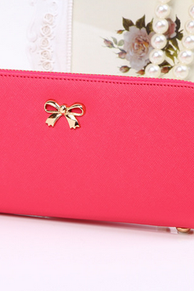 Ms. cute bow cross pattern wallet