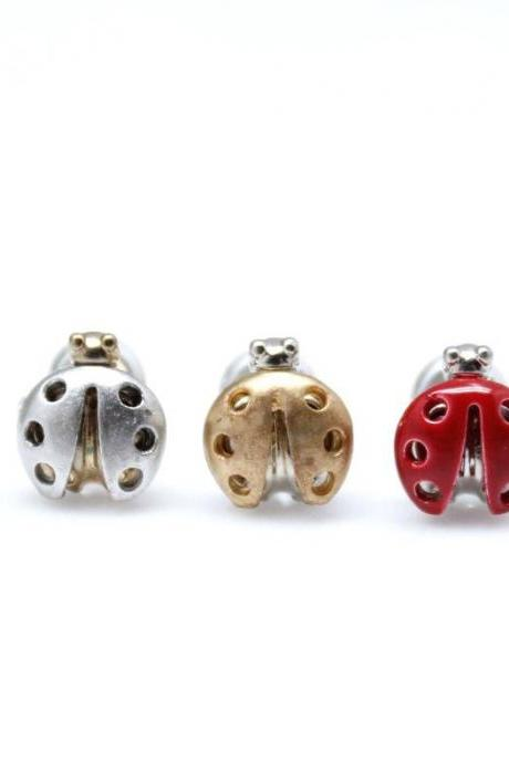 Lady Bug studs earrings in 3 colors/925 sterling silver post