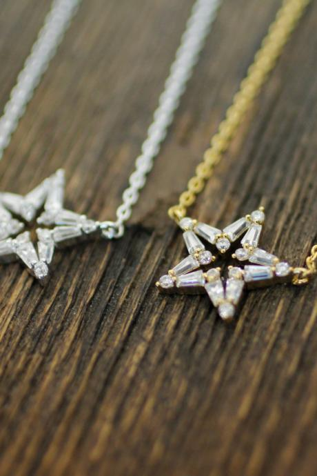 Open Cubic Zirconia Star necklace in Silver / Gold, N0181G