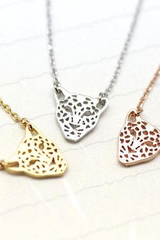 Cut-Out Animal Leopard Panther Pendant Necklace in 3 COLORS