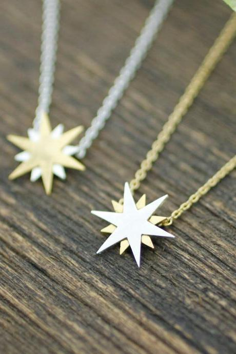 Shiny Gold and Silver Star Pendant Necklace in gold / silver , N0187G