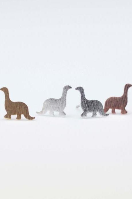 Dino Dinosaur Stud Earrings in Gold / Silver / Pink Gold