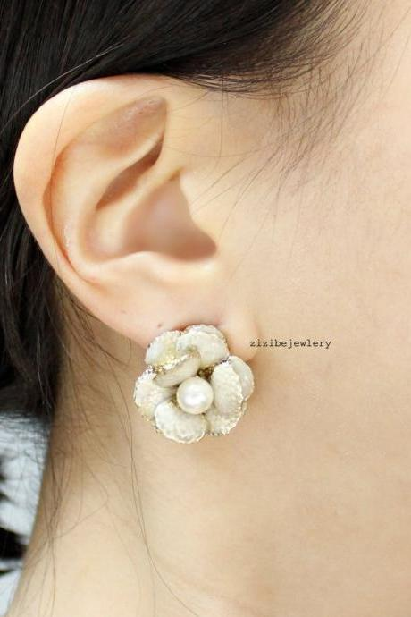 Camellia flower earrings , Bridal Camellia Earrings, Wedding Camellia Earrings Posts
