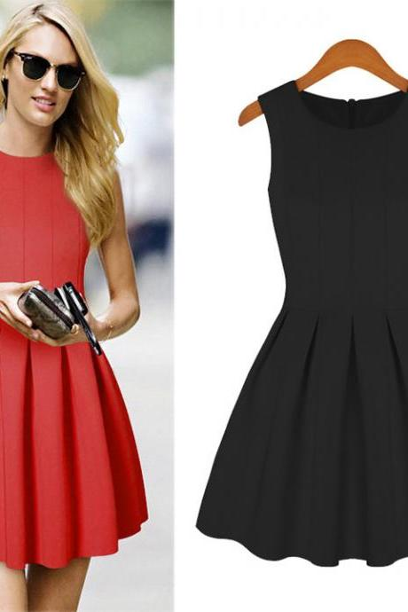 Women Princess Sleeveless Skater Dress Tight Pleated