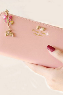 Diamond bow pendant ladies wallet