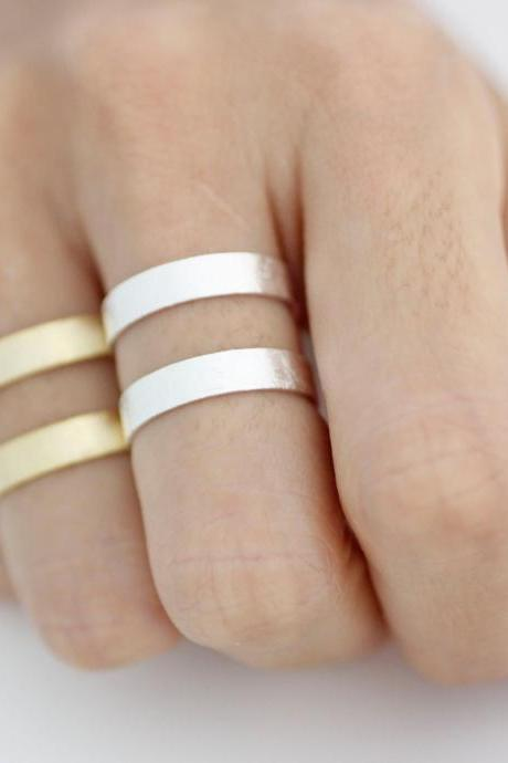Stacking Wide and Thick brushed Two Line Band Cuff ring, tube ring, knuckle ring in 2 colors