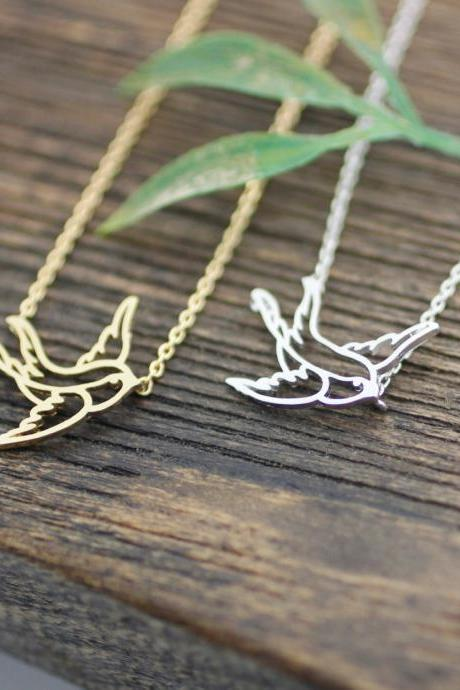 Cut-out Swallow Bird Necklace in 2 colors