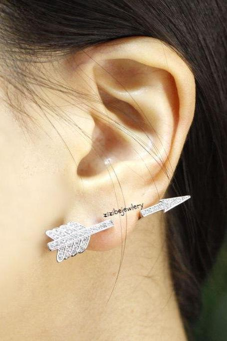 Piercing style Arrow Earcuff Stud Earring in gold and silver, E0415S