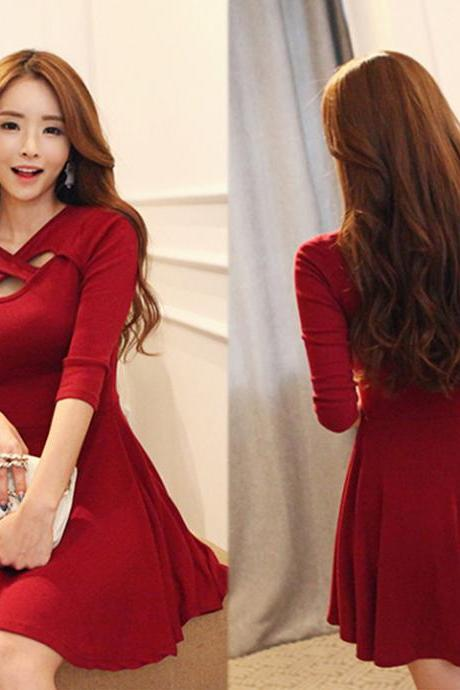 New Women's Fashion 3/4 Sleeve Sexy Hollow Out Bodycon Evening Party Cocktail Pleated Dress