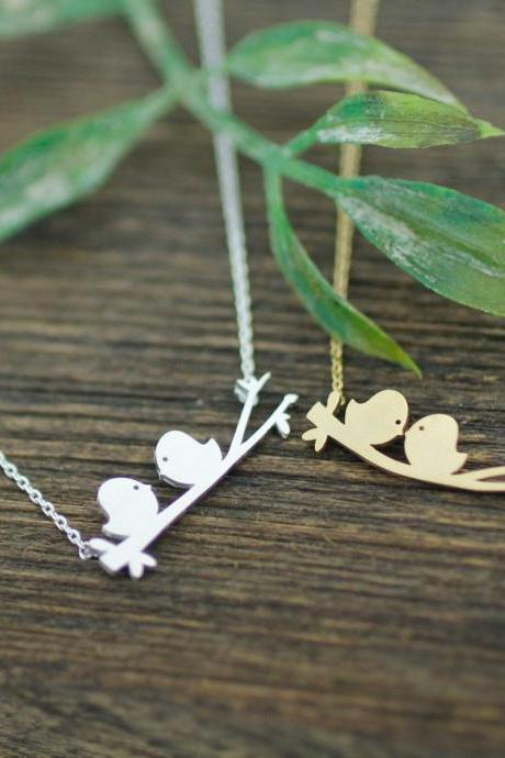 Cute Love birds on the branch necklace in gold /silver, N0172G