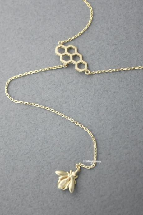 Honeycomb and Bee Lariat Necklace, Y necklace in gold / silver / rose gold, N0410K