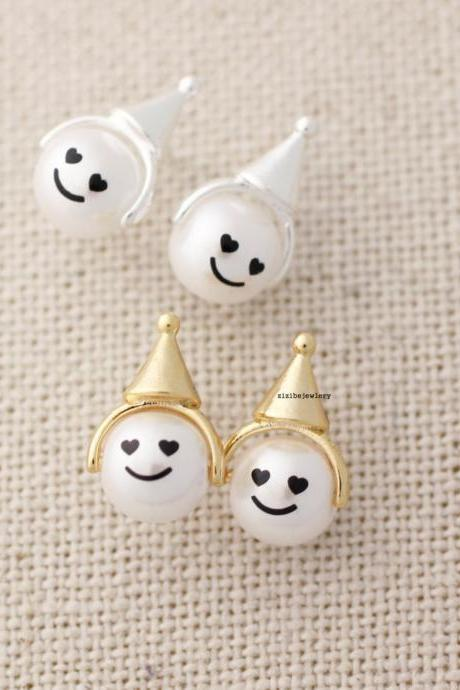 Cute cone hat, party hat with Pearl face stud earrings in 2 colors, E0437G
