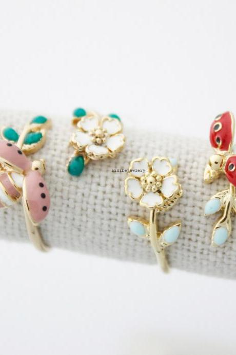 Lady Bug and tiny Flower ring in 4 colors - Adjustable Ring, R0458S