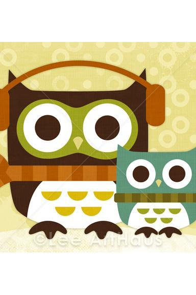 26R Retro Owls with Scarves 5x7 Print