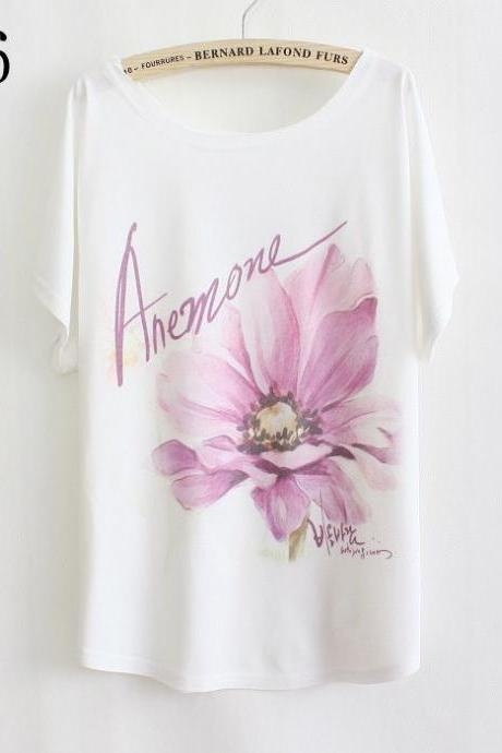 Purple flower print Summer Top Girl Tee