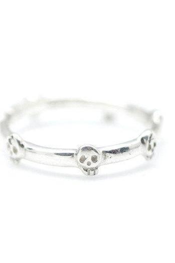 925 sterling silver Cute Baby skulls band ring