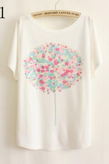 Flying balloon Gift Summer Top Girl Tee