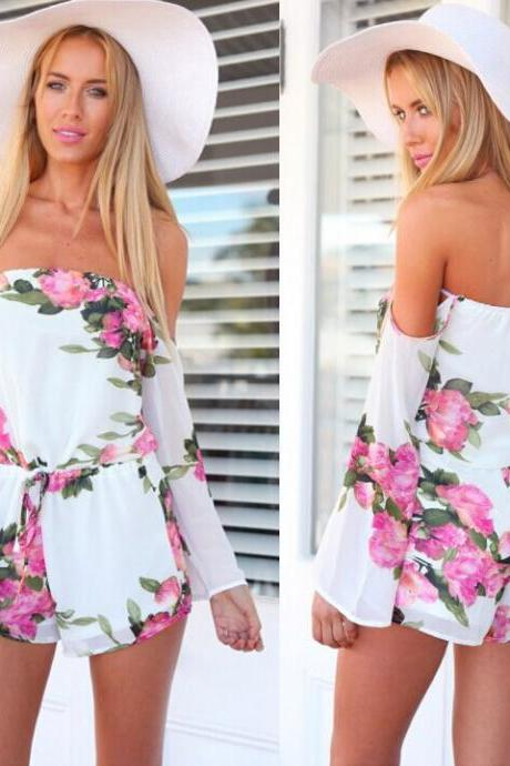 Sexy Women Floral Printed Off Shoulder Short Jumpsuit Romper Beach Casual Clubwear