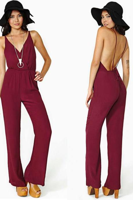 Chiffon Deep V-neck Backless Strap Rompers