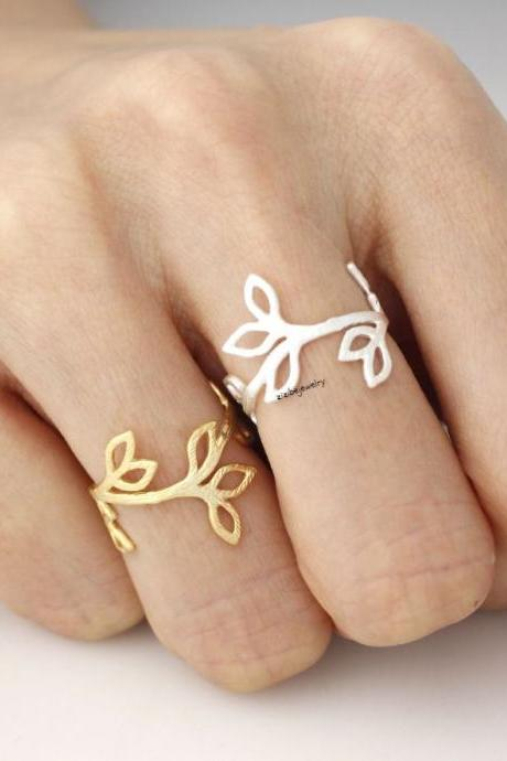 Cut-Out Bay Leaf Ring in GOLD and SILVER-Adjustable, R0052G