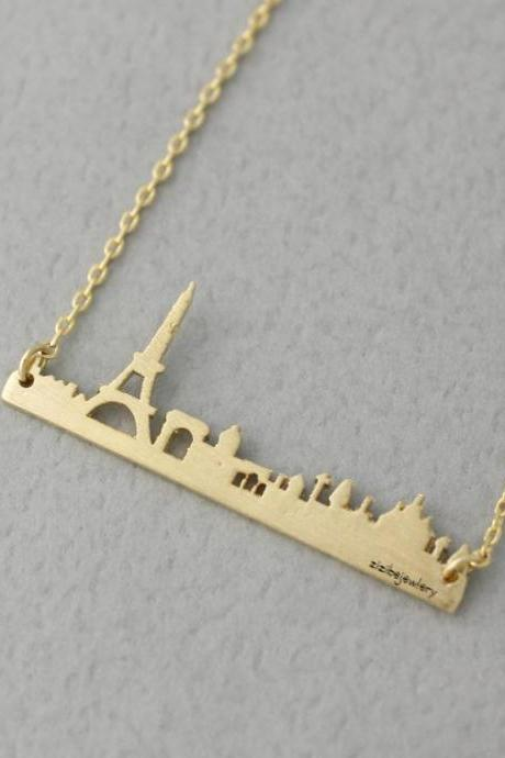 Cityscape Necklace, Skyline Necklace- Paris Necklace in 3 colors, N0381K