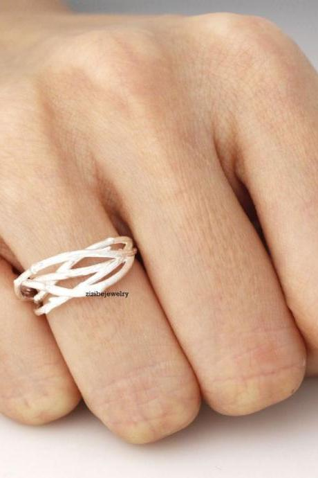 Branch Twig Adjustable Ring in Gold / Silver