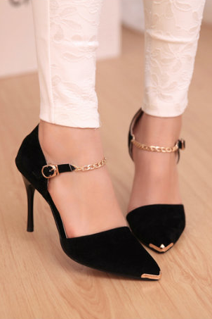 2015 point light chain heels OL for women's shoes