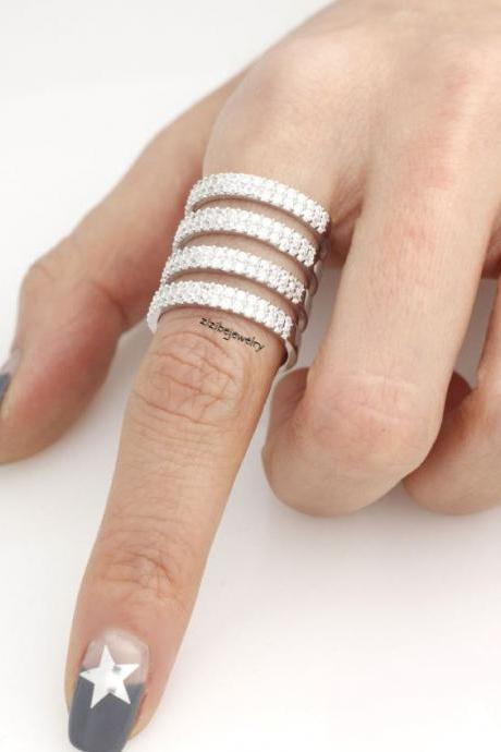 925 Sterling Silver 4 Line Thick Diamante wrap Ring detailed with Swarovski crystal, S0336S