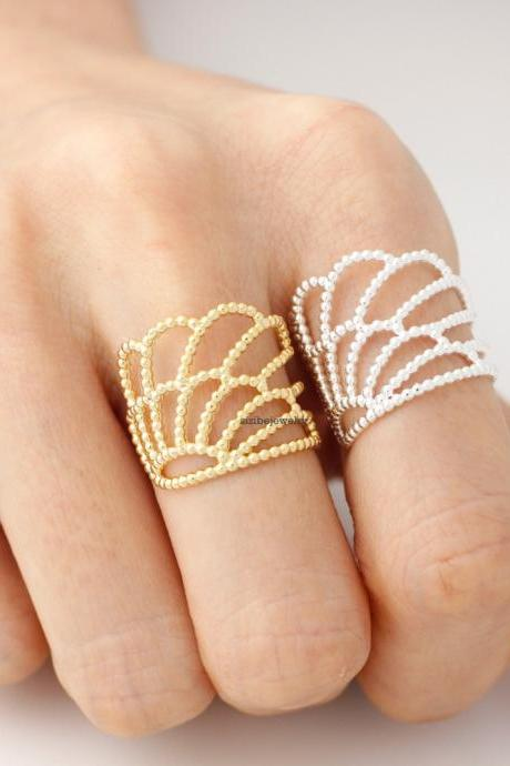 Big Angel Love Wing ring in gold /silver- Adjustable Ring