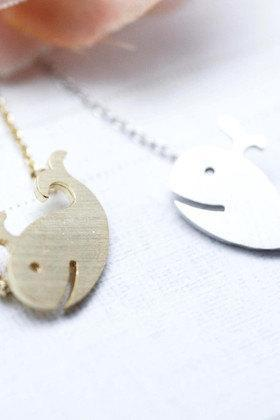 Whale charm Necklace in matte silver and gold