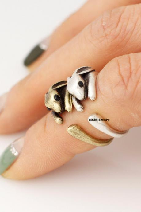 Cute Rabbit Retro Wrap Ring in 2 colors