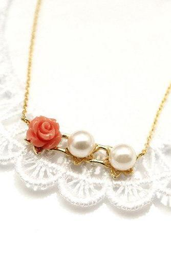 Delicate Rose Fence Necklace with Swarovski Pearl