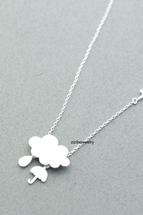 Rainy Day Cloud and Umbrella Dangles necklace with Thunder Storm charm