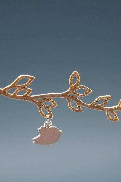Multi Leaf Branch And Bird Dangling Necklace in Gold
