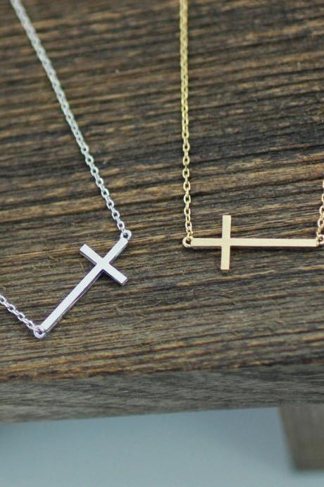 Sideways Cross Necklace in gold /silver (925 sterling silver / plated over Brass)