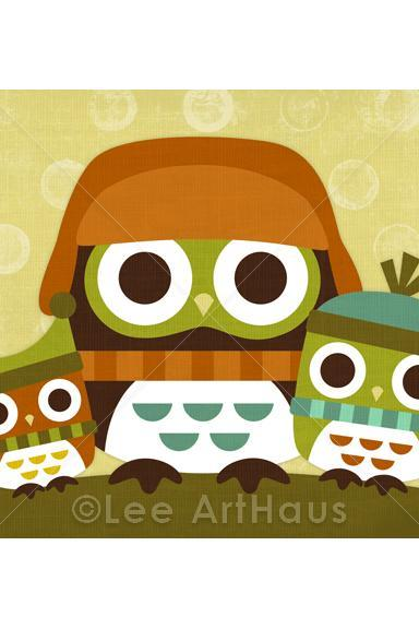 37R Retro Winter Owls with Hats 5x7 Print