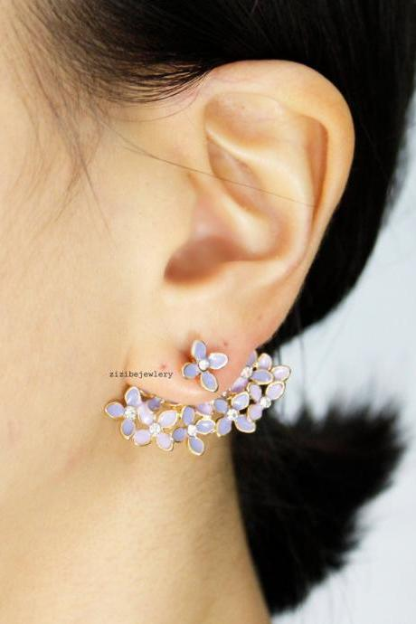 Bunch of Cherry Blossom Flower ,Flower Bouquet wrap Earrings in 2 colors-2, E0455S
