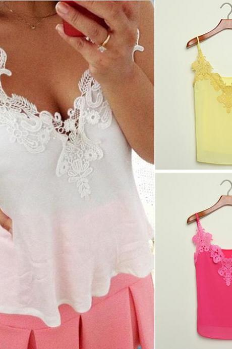 New Women's Fashion Lace Splicing Blouse Chiffon Strap Sexy Shirt Blouse Tops