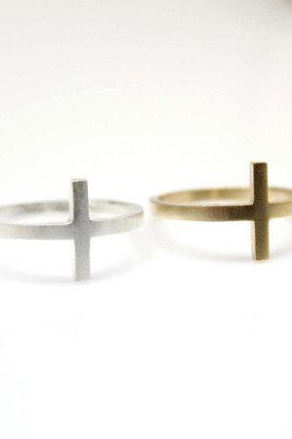 Sideways Cross Ring in Gold and Silver