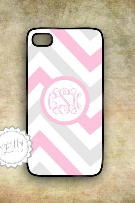 iphone case bubblegum pink and gray monogram chevron hard cover for iPhone in case